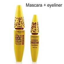 2 шт./лот, высокое качество, профессиональный макияж, подводка для глаз, набор, леопардовая цветная Черная тушь для ресниц+ жидкая тушь для глаз TICE Cheetah, косметическая подводка для глаз