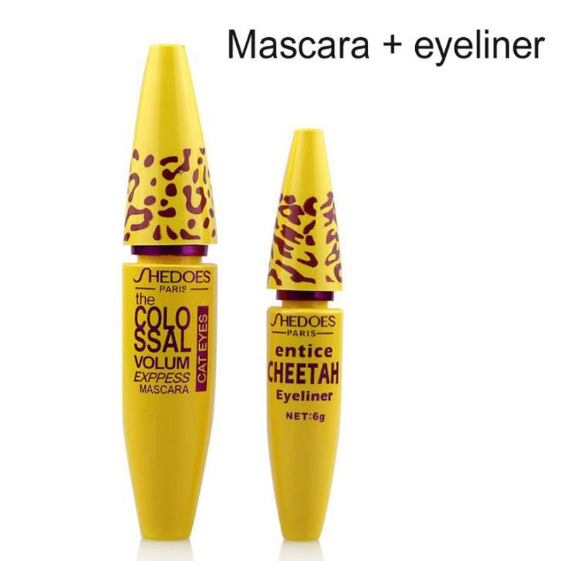 2pc/Lot High Quality Professional Make up Eye liner Set Leopard Colossal Black Mascara + Liquid Entice Cheetah Eyeliner Cosmetic