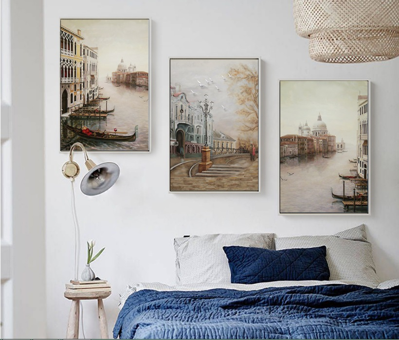 HTB1mdIbhMvD8KJjSsplq6yIEFXaE Water City Landscape Canvas Paintings Modular Pictures Wall Art Canvas for Living Room Decoration No Framed