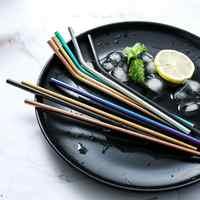 Pailles en métal couleur titane pailles à thé au lait pailles en acier inoxydable 304 pailles en acier inoxydable