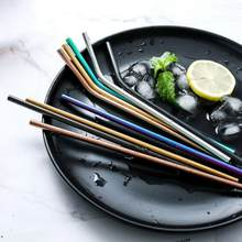 Titanium-Plated Colored Metal Straws Milk Tea Drink Straws Stainless Steel 304 Straws Stainless Steel Straws(China)