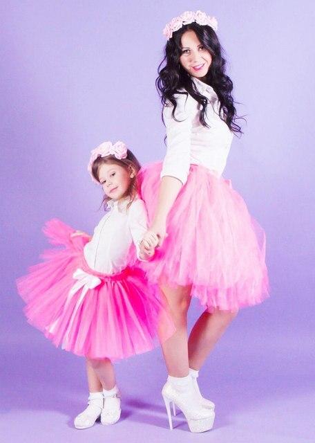 Madre Hija Falda Rosa Y Blanco Bebe Y Madre 1st Cumpleanos Girl
