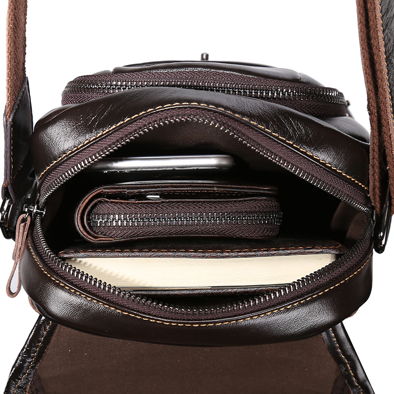 Brand Genuine Leather 8 Casual Cross Body Shoulder Bag Mens Messenger Bags Male Cowhide Travel Pack For Cell Phone Wallet