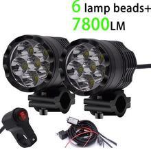 WUPP 2PCS Universal 6 Chips LED Motorcycle headlights Motos Bulb Motorbike Waterproof Fog Spot 7800 LM Spotlight Super Bright