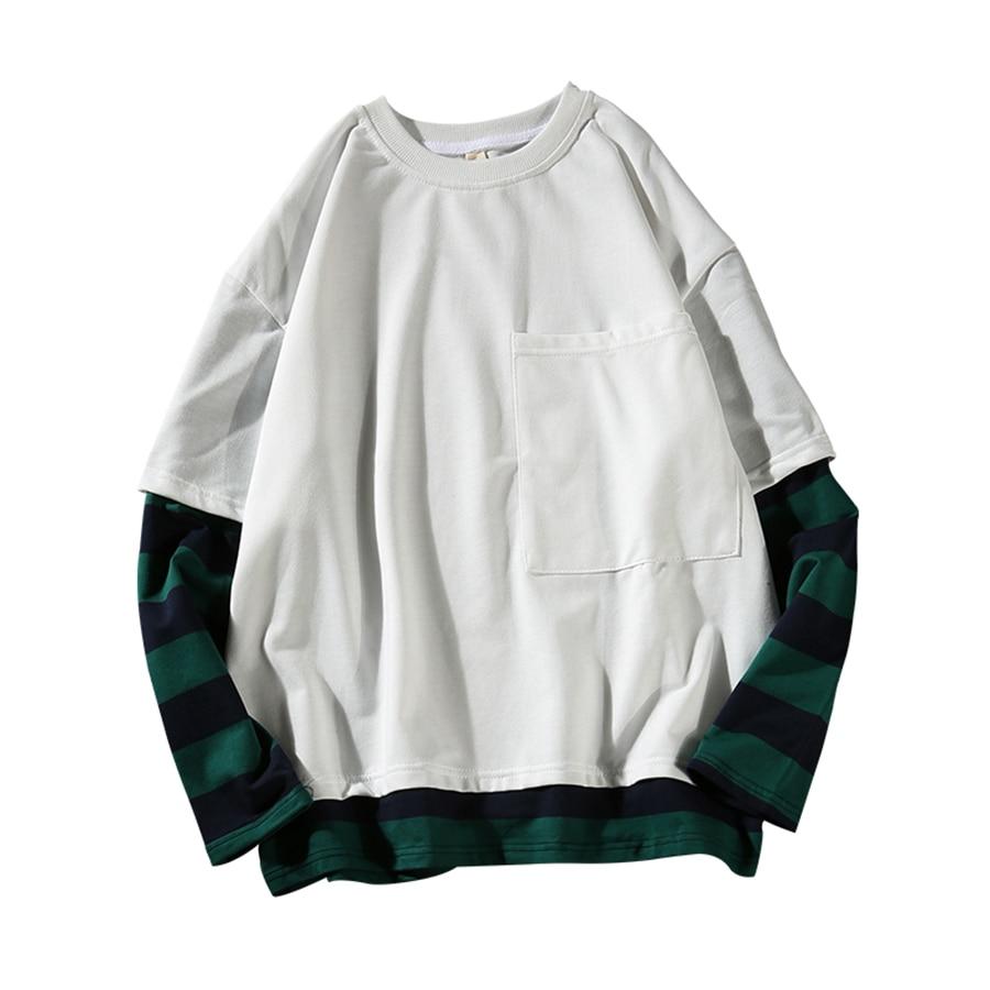 T Shirt a Manica lunga Degli Uomini di Hip Hop Triped Kpop Swag t-shirt Da Uomo Harajuku Streetwear Swag falso in Due Pezzi Patchwork Mens magliette e camicette T6