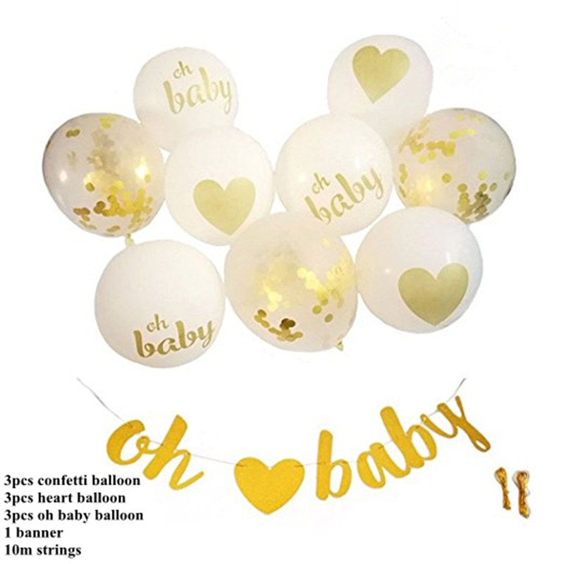 Confetti Gold White Balloons Top Oh Baby Baby Shower Decorations Gold Banner