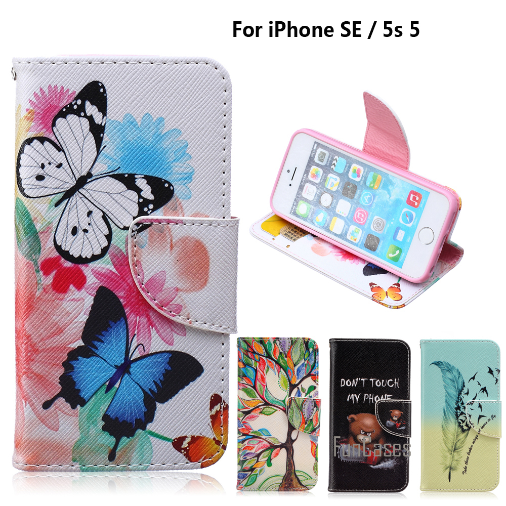 Wallet Case for fundas iPhone 5s 5 Cover Case for coque iPhone SE Case + Stand Card Holder for ihone ifon aifon i phone