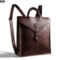 Vintage mujer hombre mochilas de cuero de caballo carzy bolsa de lona ocasional de los hombres bolsa de hombro de alta calidad de los hombres bolsa de viaje marrón