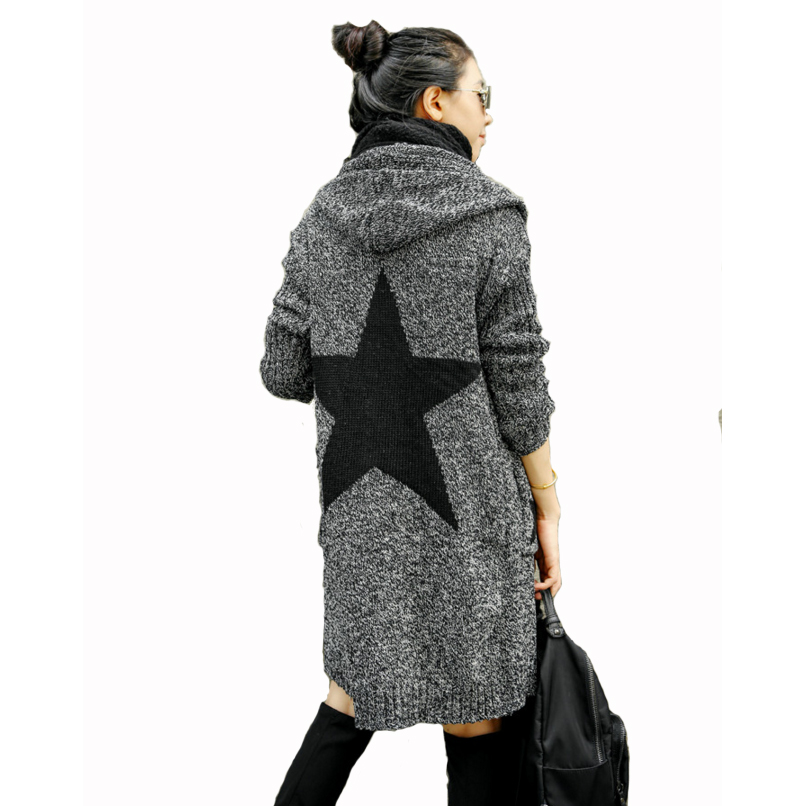 Pockets with hooded women sweater jeans cardigan for
