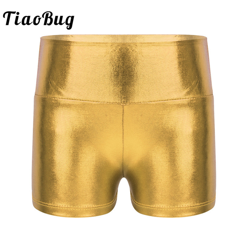 TiaoBug Kids Teens Metallic Shiny Gymnastics Sports Shorts High Waist Dance Shorts Activewear Girls Sports Workout Dance Wear