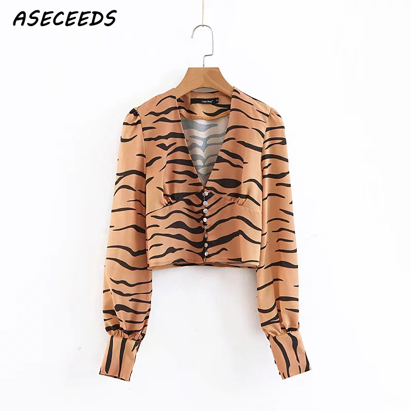 Autumn vintage womens tops and blouses long sleeve crop top tiger striped chiffon blouse women shirts tunic ladies tops
