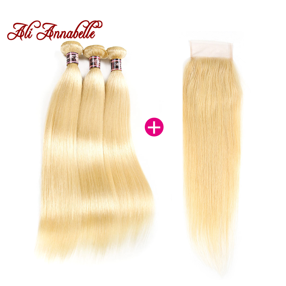 Ali Annabelle 613 Blonde Human Hair Straight Brazilian Hair Weave Bundles with Closure Remy Hair Deals