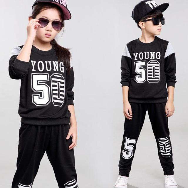 Muchachos que arropan el sistema chicas ropa de deporte juego de los niños ropa de las muchachas niño otoño traje de niño trajes de ropa para niños set escudo 2016