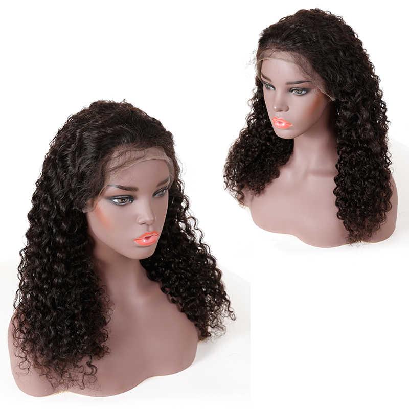 150% yoğunluk bakire derin dalga kıvırcık 13x6 dantel ön İnsan saçı peruk ön koparıp doğal renk bakire brezilyalı derin dalga dantel peruk