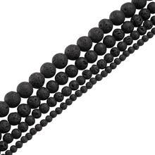"""20 גידים עגולים שחור טבעי לבה חרוזים עבור תכשיטי ביצוע DIY שרשרת צמיד 4 6 8 10 12mm חור: 0.5 ~ 1mm,15 """"~ 16""""/גדיל"""