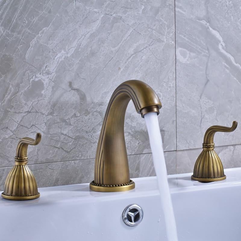 Vintage Antique Brass Deck Mount Bathroom Faucet Widespread Sink Tub Mixer Tap Double Handles Basin sink