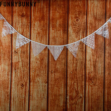 FUNNYBUNNY  Flag Banner White Lace Cotton Fabric Bunting Pennant Garland Wedding Decorations