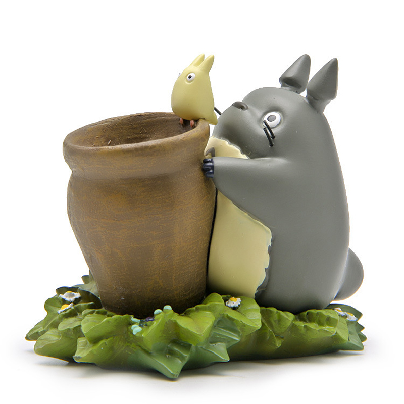DIY Studio Ghibli Totoro With Honey Pot Figure Toy Miyazaki Hayao My Neighbor Totoro Resin Action Figure Classic Toys Home Decor loz my neighbor totoro toy umbrella totoro model action figure diamond building blocks original box 14 gift 9509