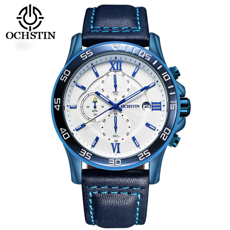 OCHSTIN Sport Mens Watches Top Brand Luxury Male Leather Chronograph Quartz Military Wrist Watch Men Clock saat montre horloge 2017 ochstin luxury watch men top brand military quartz wrist male leather sport watches women men s clock fashion wristwatch