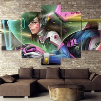 5 Pieces Video Game Collection Custom Anime Girls Over Watch D Va Game Art Silk Fabric