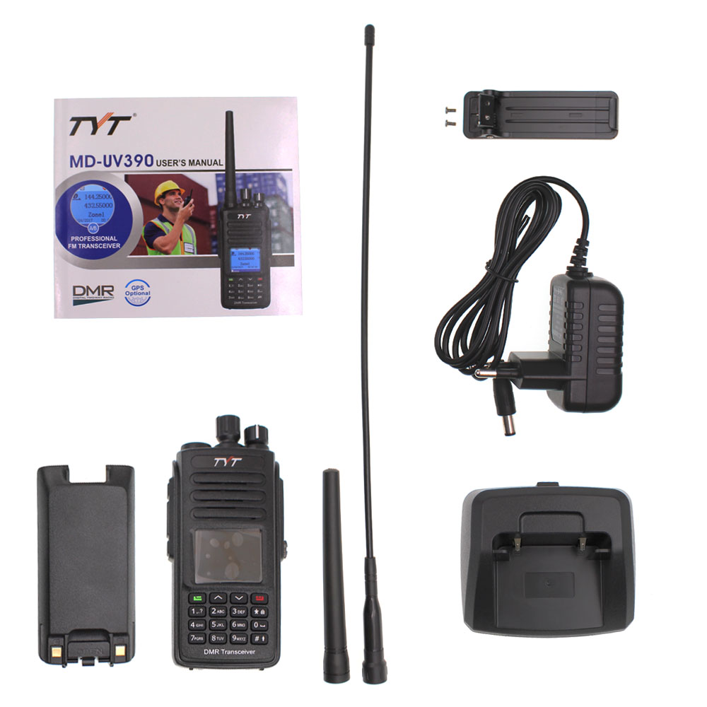 TYT MD-UV390 Walkie Talkie IP67 Waterproof Dual Band Radio MD-380 VHF UHF Digital DMR Two Way Radio Dual Time Dlot Transceiver