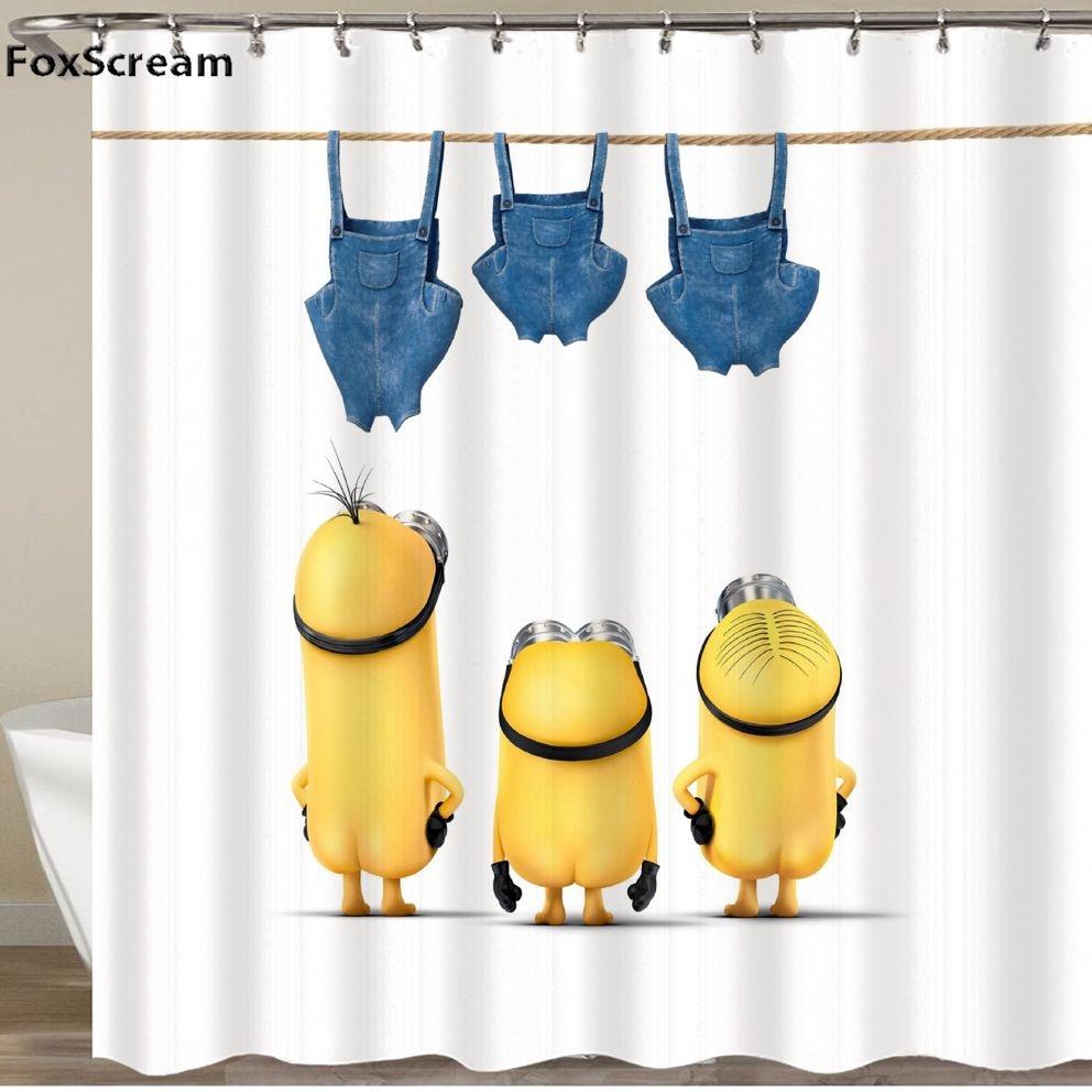 สีเหลืองผ้าม่านซุกซน Minions ชุดฝักบัวอาบน้ำผ้าม่านผ้าม่านโพลีเอสเตอร์กันน้ำผ้าม่านห้องน้ำห...
