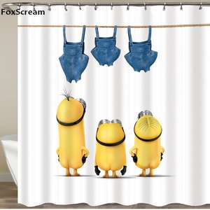 Shower Curtains Minions-Series Polyester Yellow Waterproof Mat Or Mischievous