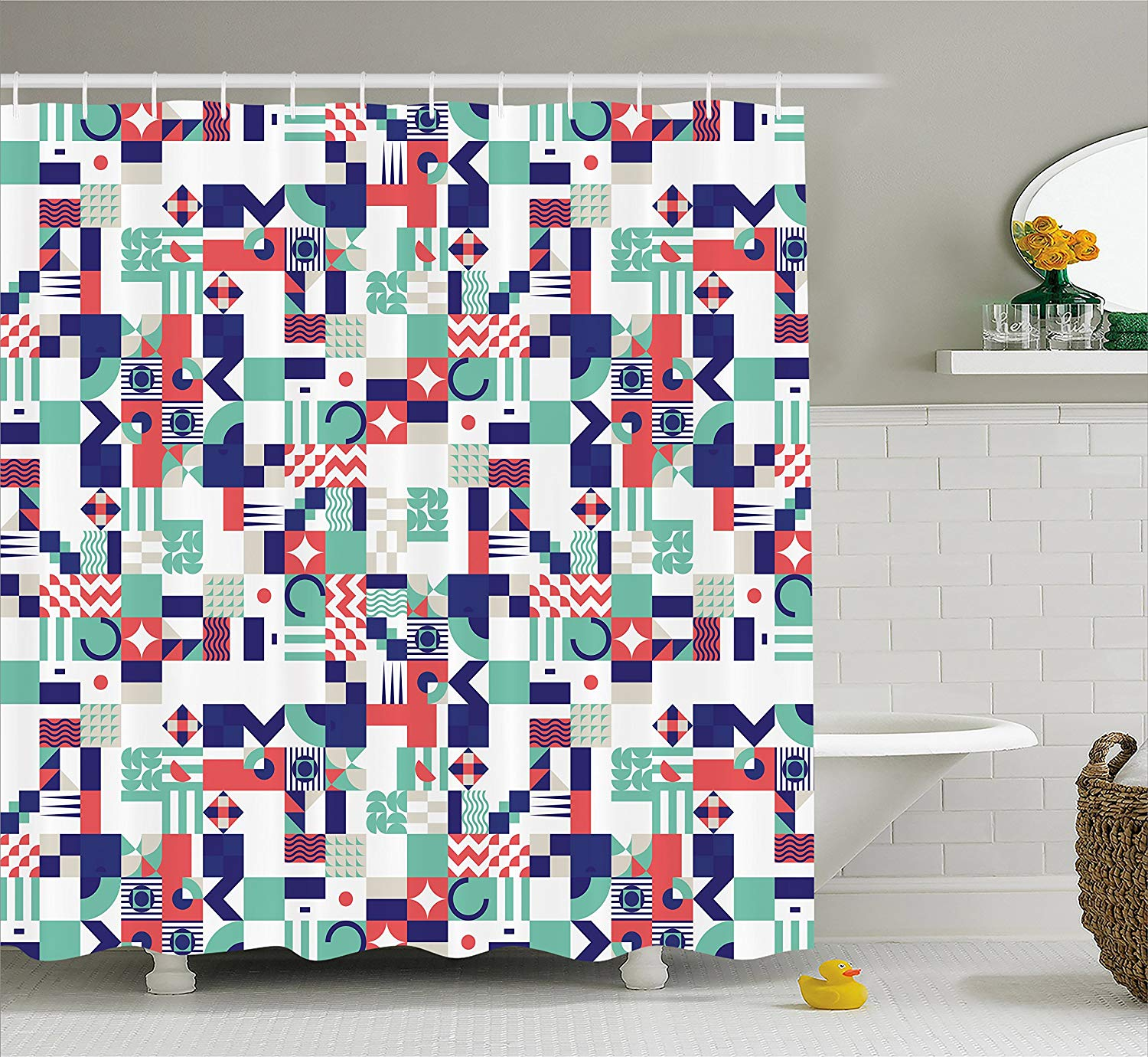 Mid Century Shower Curtain Rich Contemporary Mosaic of Funky and Pastel Shapes