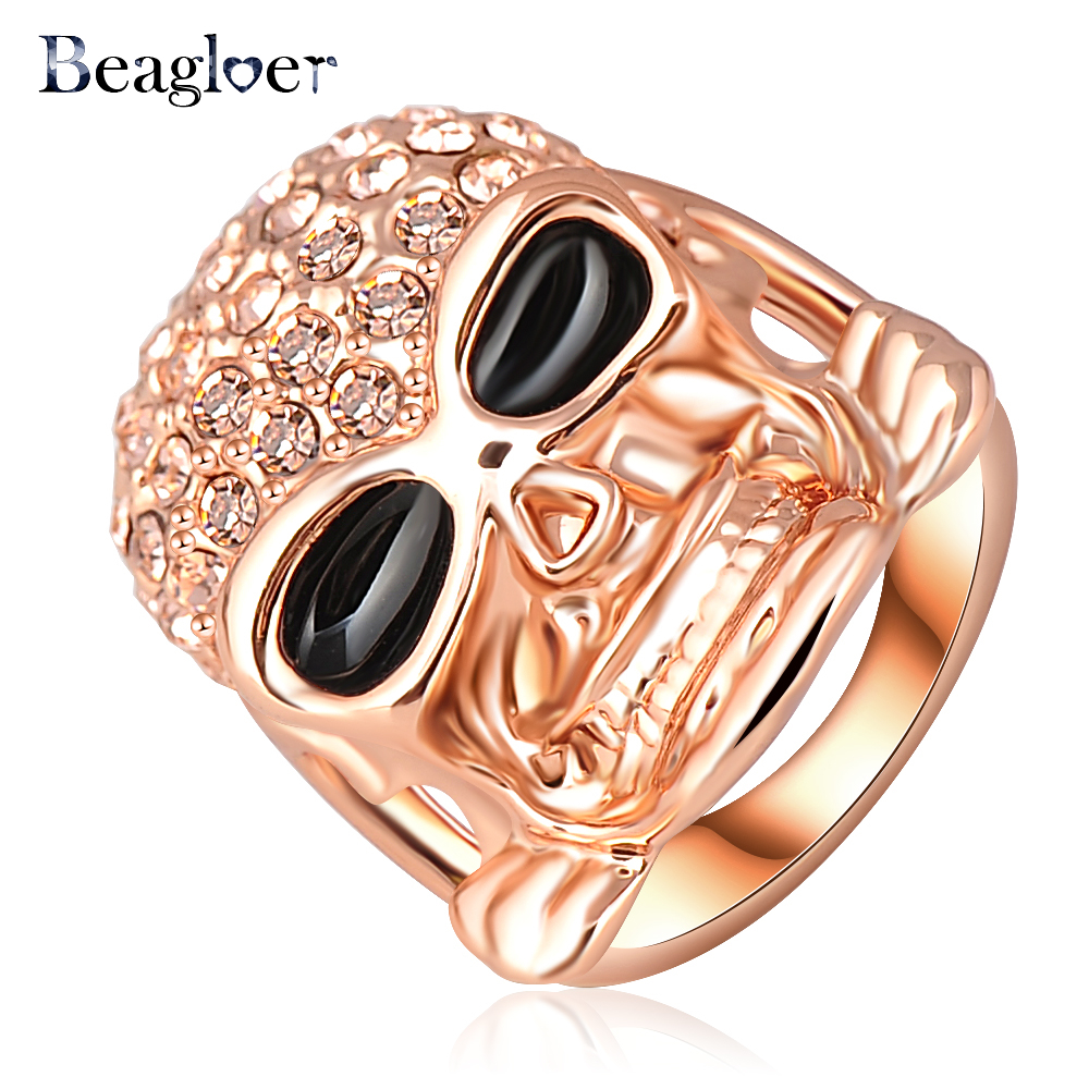 Beagloer Hot Sale Ring Rose Gold Color&Pave Austrian Crystal Punk-Pop Skull Engagement Rings Gangnam Style Jewelry Ri-HQ0110