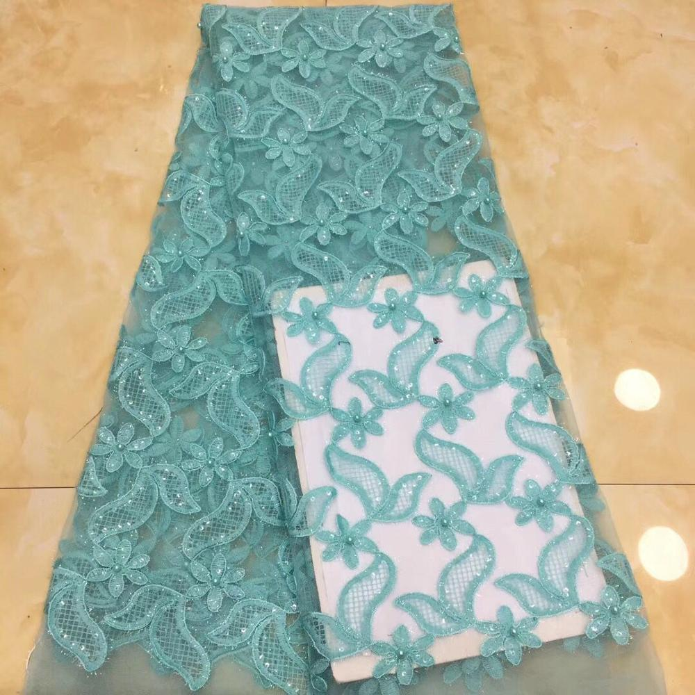 Blue African Lace Fabric 2018 High Quality 3D Applique Flower Lace Tulle Lace Fabric Nigerian Lace