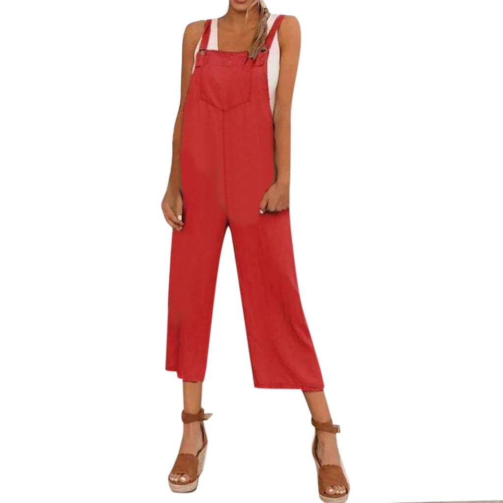 Summer Jumpsuit Women Strap Strapless Sleeveless Pokets Monos Largos Mujer Pantalon Largo Cotton Linen Long Jumpsuit Romper
