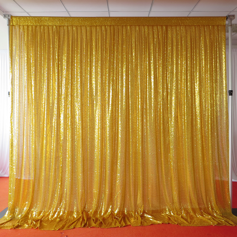 1 Piece 3m 3m Shiny Sequin Backdrop Pleated Glitter Gold