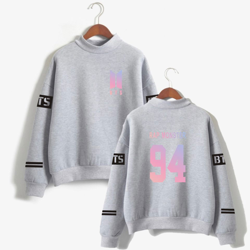 BTS Kpop Harajuku Casual Turtleneck Capless Unisex Hoodies Sweatshirts Streetwear Hip Hop Sweatshit Fashion Plus Size Tracksuit