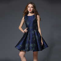 Blue Jacquard Tank Dresses Women Summer 2017 Pleated High Waist Vestidos de Festa Curto Sleeveless Plus Size Female Robes N618