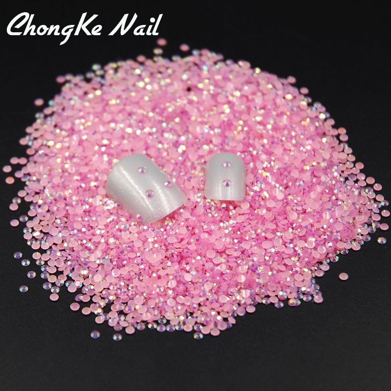 2mm 2000pcs Light Pink Jelly AB Resin Round Flat Back ...