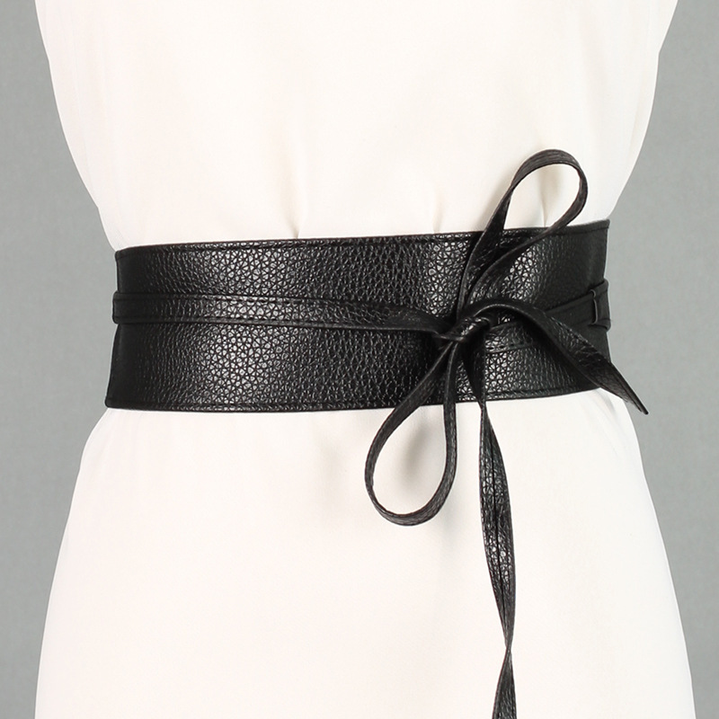 New Fashion Women   Belt   Circle Soft Leather Bowknot Body Shaping Bands Widebelts All Match Dress Red Black Silver Brown WaistBelt