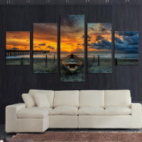 No Frame 5 Panel Seascape And Boat With HD Large Print Canvas Painting For Living Room