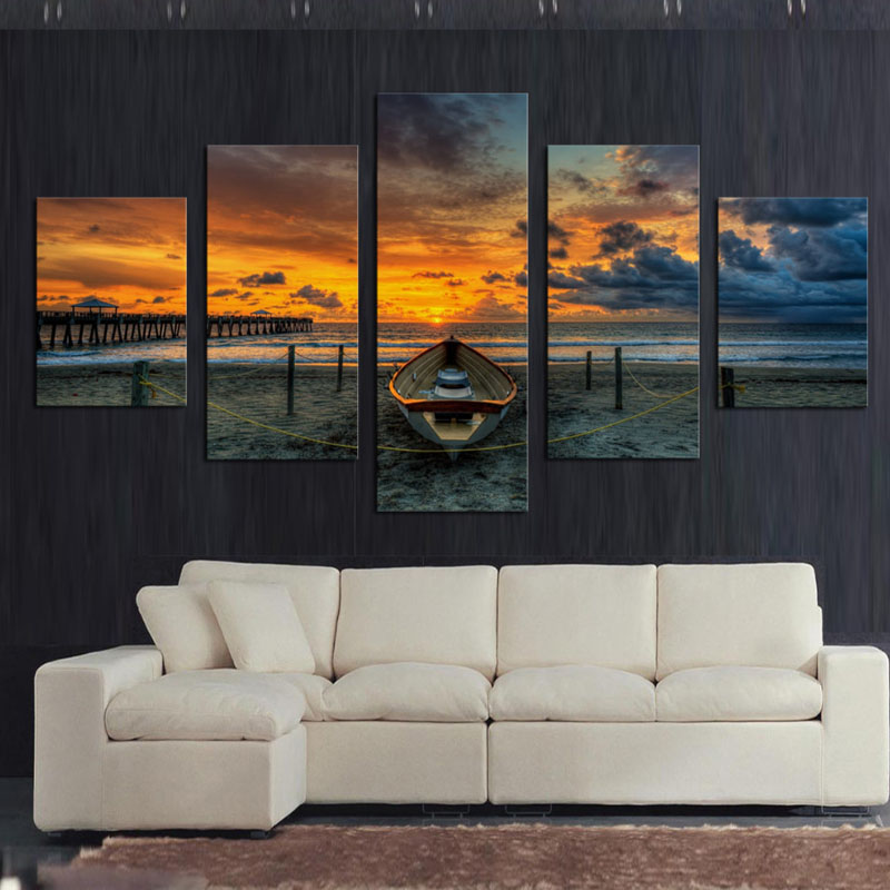 Buy no frame 5 panel seascape and boat with hd large print canvas painting for Canvas prints for living room