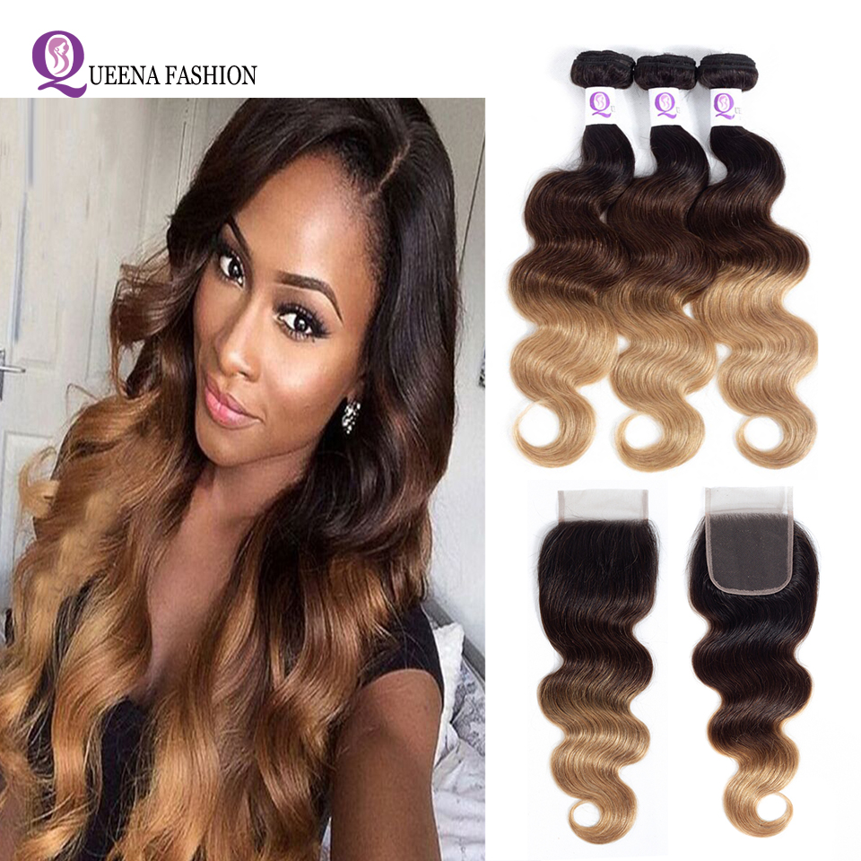Cheap Ombre Peruvian Body Wave Human Hair Bundles With Lace Closure 1B/4/27 Blonde Ombre Human Hair Weave 3 Bundles With Closure