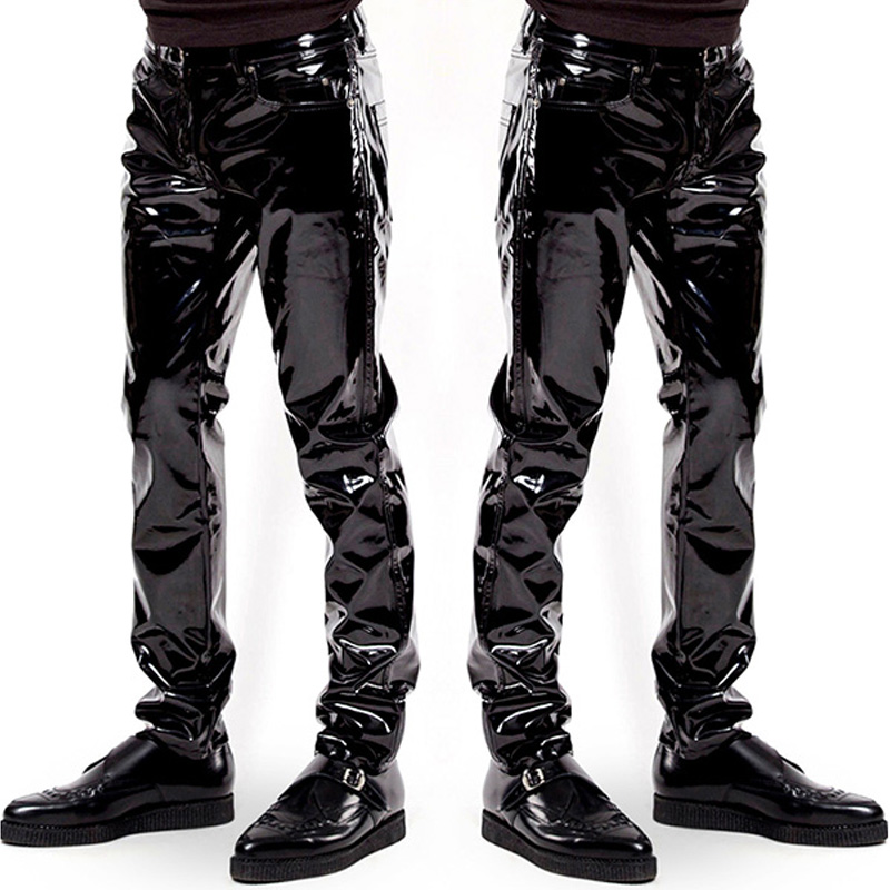 Mens Elastic Faux Leather PVC Pants Motorcycle Ridding Black Slim Fit Dance Party Trousers Wetlook Patent Leather Pants For Male
