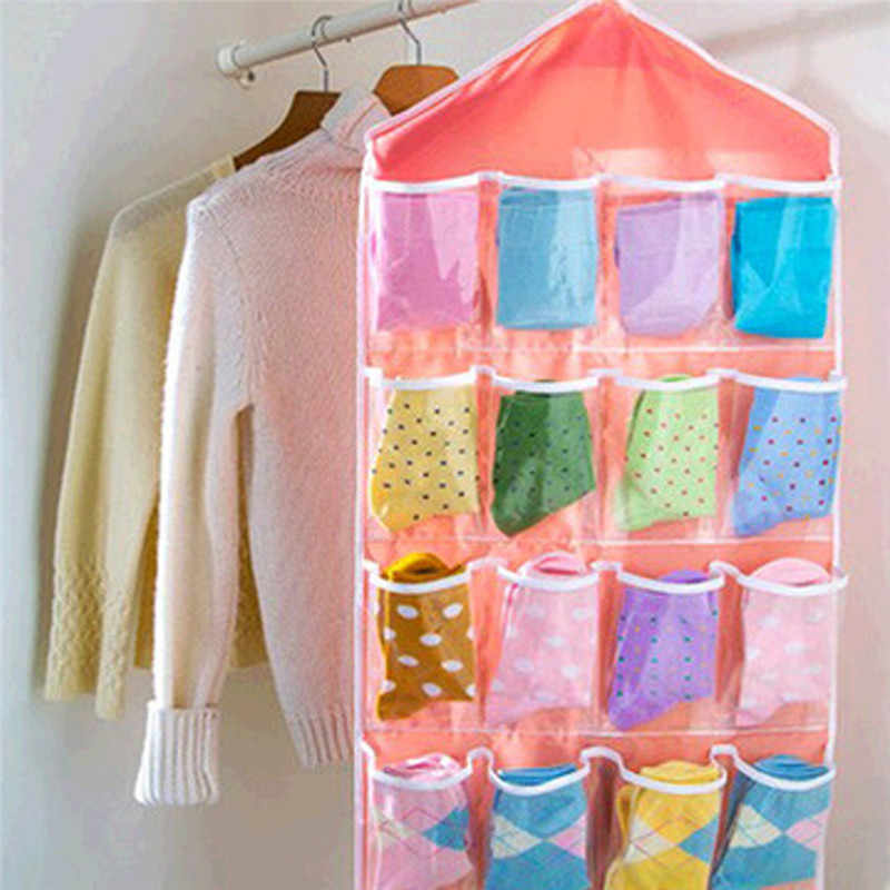 16Pockets Clear Storage Bags Hanging Bag Socks Bra Underwear Rack Hanger Storage Organizer
