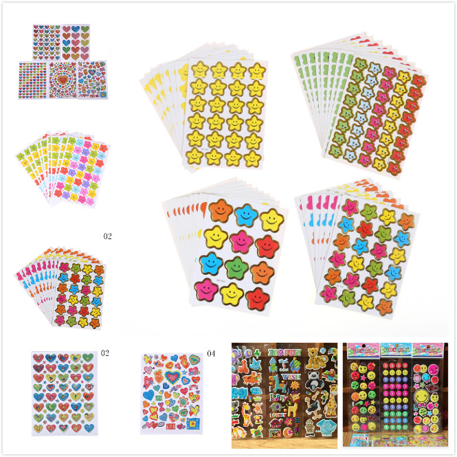 10 Sheets/lot Cartoon Cute Animals Zoo Star Love Emoji Face Expression 3d Stickers Pvc Stickers Bubble Stickers Kids Toys Classic Toys Toys & Hobbies