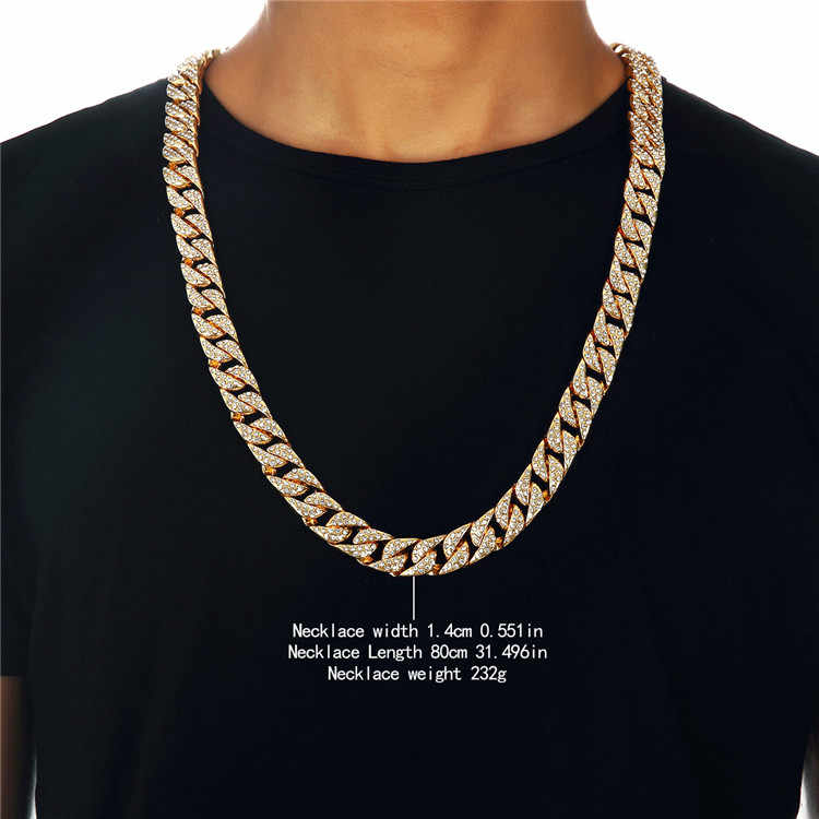 Golden Full AAA Rhinestone Finished Miami Cuban Necklaces Hip Hop Rock Jewelry Women Men Bling Iced Out Crystal Chains