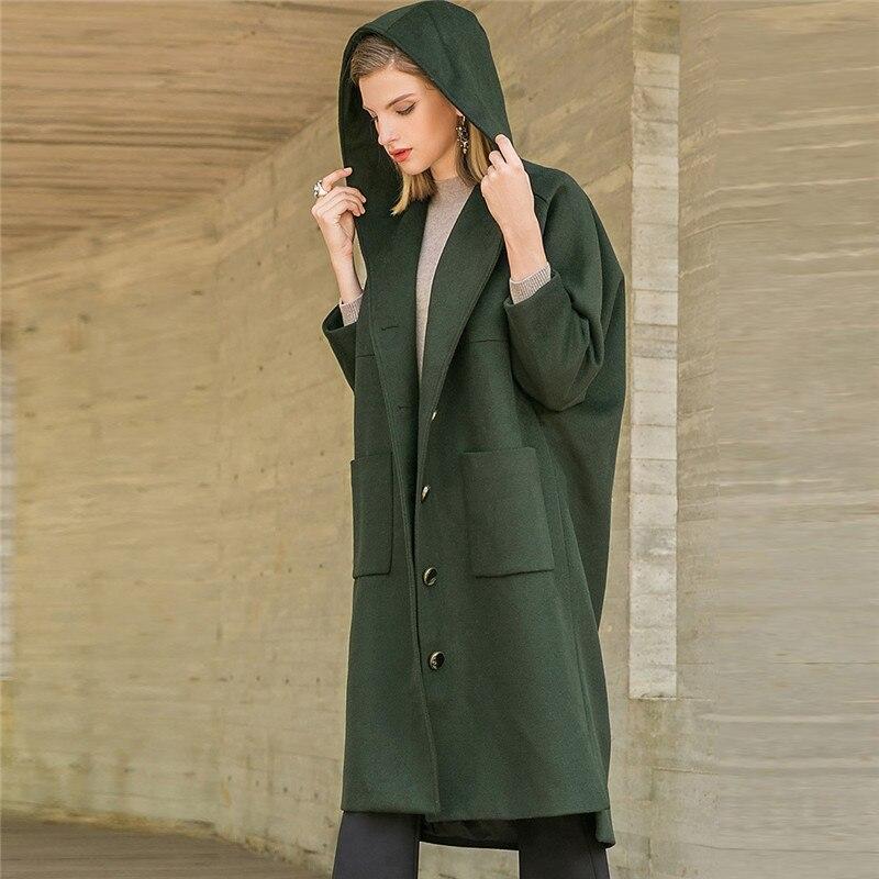 Lose Neue Weiblichen Gerade Parka Kapuze Winter Frauen Yy186 Mantel Lässig Mit Herbst Lange Mode Green Woolen Woll Oberbekleidung qPx5fgv6