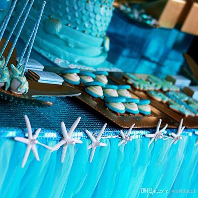 DIY 80CM Height Organza Table Skirt Cloth Reception Desk Gauze Tulle Wedding Party Banquet Decoration Wd752