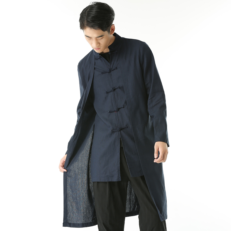 Men Clothing Casual Overcoat Men Traditional Chinese Garments Male China Dress Solid Classic Stand Collar Jackets Trench