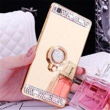 Diamond Mirror Metal Crystal Finger Ring Phone Case For Lenovo K6 Note K5 Plus K3 K4 Note ZUK Z2 S90 P2 P70 K900 S850 Z90 A6000 lenovo 900 lenovo k900