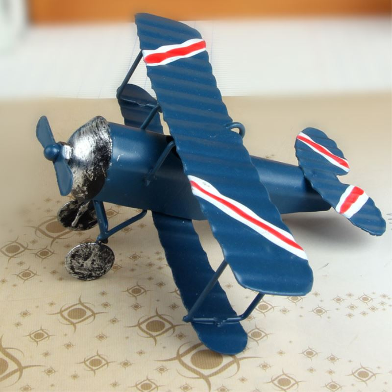 Handicraft Arts And Crafts Iron Retro Airplane Figurines  Metal Plane Model Vintage Glider Biplane Miniatures Aircraft For Kids