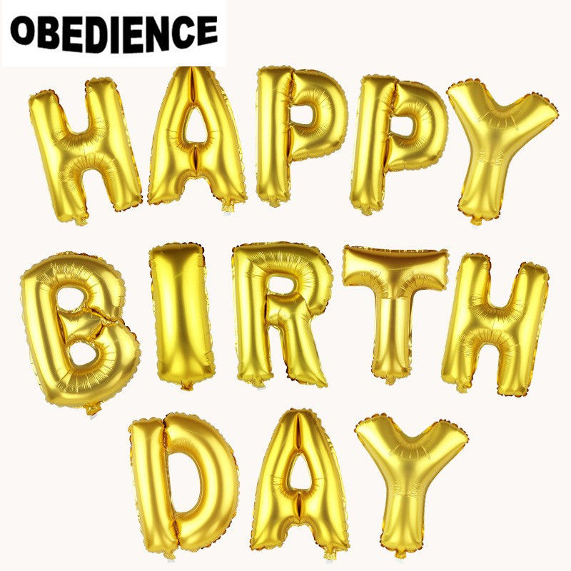 OBEDIENCE Alphabet Shining Gold HAPPY BIRTHDAY Balloons Party Wedding decoration