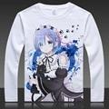 Re: Zero Hajimeru kara Isekai Seikatsu Camisetas Anime Emilia Rem Cosplay Manga Comprida T Shirt Dos Desenhos Animados Ram Tops Tees